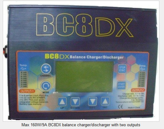 Max 160W/9A BC8DX balance charger/discharger with two outputs